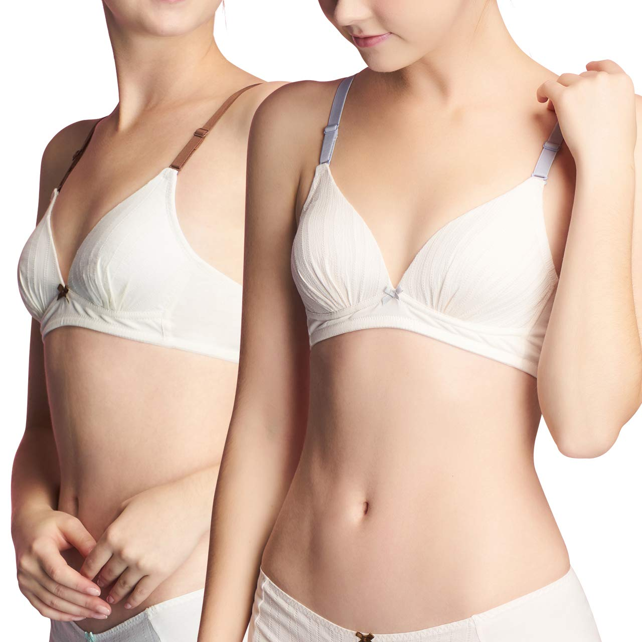 SANQIANG 2 Pack Big Girls Wireless Cotton Bra Women Softi Cup Lightly Lined Bralette B31883N