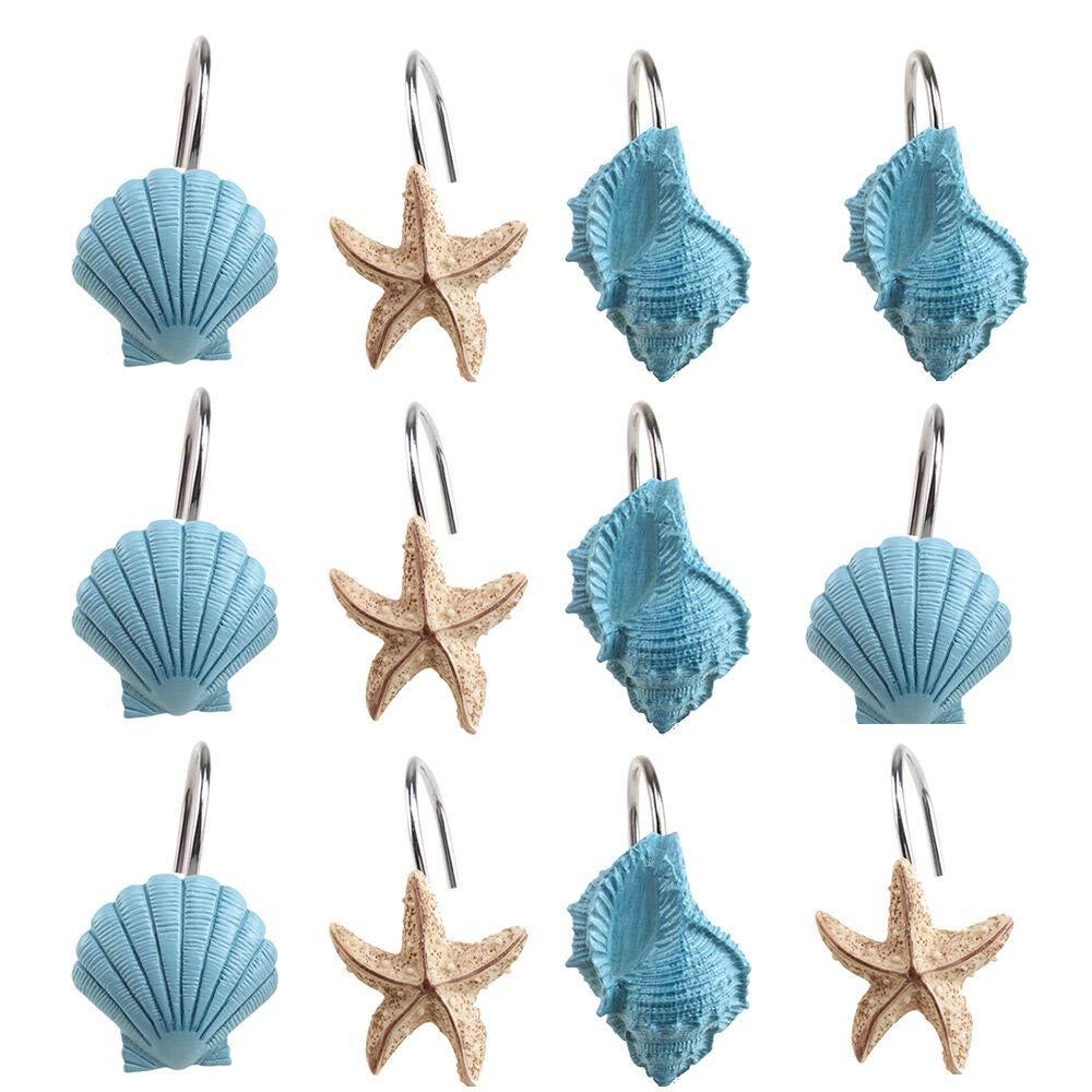 KM Mart Cute 12 PCS Decorative Seashell Shower Lovely Curtain Hooks Bathroom Beach Shell Decor US