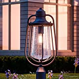 Luxury Vintage Outdoor Post Light, Large Size: 23''H x 11''W, with Nautical Style Elements, Cage Design, Estate Bronze Finish and Seeded Glass, Includes Edison Bulb, UQL1124 by Urban Ambiance
