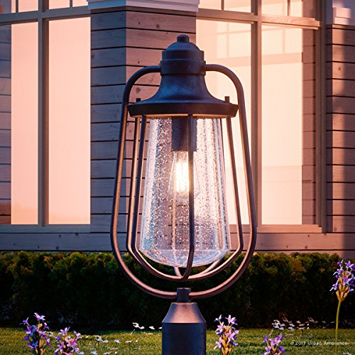 Luxury Vintage Outdoor Post Light, Large Size: 23''H x 11''W, with Nautical Style Elements, Cage Design, Estate Bronze Finish and Seeded Glass, Includes Edison Bulb, UQL1124 by Urban Ambiance by Urban Ambiance (Image #8)