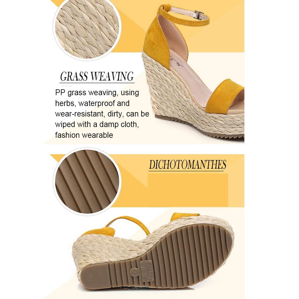 Sandali Tacco Alto Scarpe da Donna Estive Zeppa Scarpe Ricamate Ricamate Ricamate con Motivo di Moda in Erba, con Un'Altezza di 10,5 Cm (Colore   giallo, Dimensione   34) dfae2f