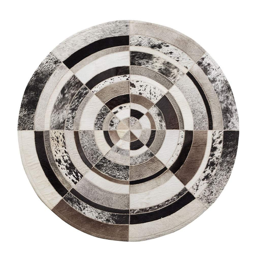 デザイナーラウンドラグ高級貴重な牛革エリアラグ用リビングルーム寝室北欧スタイル手縫いベッドサイドマット子供の遊びカーペット直径120センチ (サイズ さいず : Diameter120cm) Diameter120cm  B07QKZKXLG