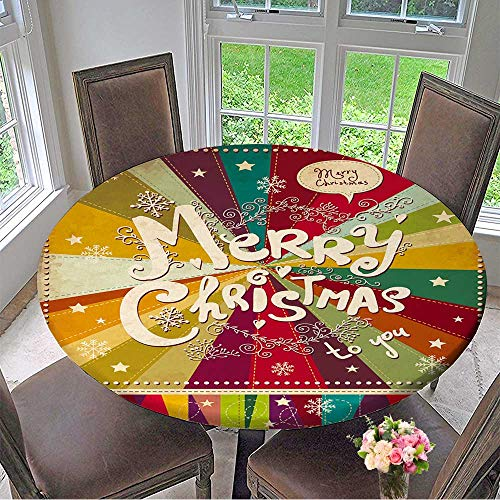 Mikihome Circular Table Cover Vintage Vector Christmas Card for Wedding/Banquet 55