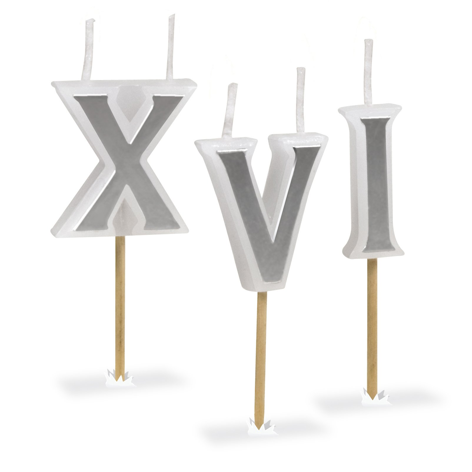 Genuine Fred ROMAN CANDLES Roman Numeral Birthday Candles, Set of 8
