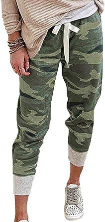 Women Camo Drawstring Elastic Waist Jogger Pants Long Slacks Sweatpants Trouser#