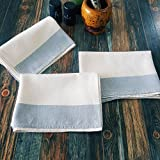 Secret Sea Collection- Set of 3, Linen-Cotton Blend, Handmade Absorbent Dish Cloths (28x18 inches), Vintage Striped, Perfect for Kitchen Towels,Tea Towels, Hand Towels, Bread Towels,(Grey)