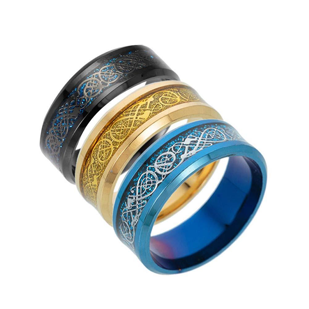 Haluoo チタンスチールリング 男女兼用 - ブルーブラックゴールド ドラゴンパターン ベベルエッジ ケルトリング タングステン結婚指輪 パンクスタイル 婚約指輪 サイズ5~13 11 ブルー B07MJFMJMX