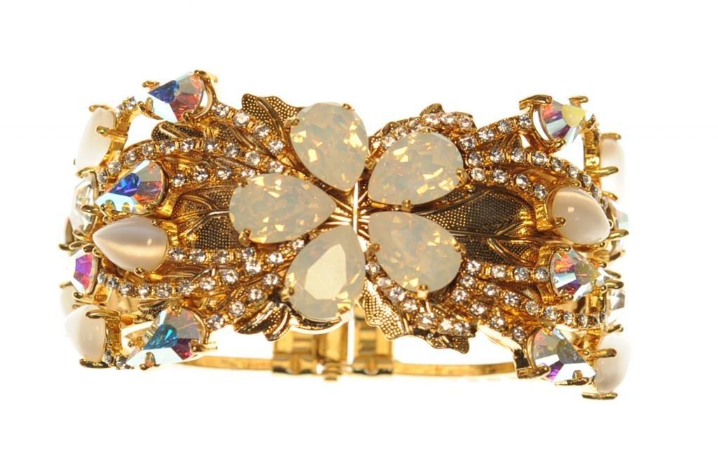 OTAZU ''Summer Palace'' Crystal Cuff Bracelet in White and Clear Swarovski Crystal