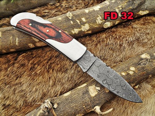 """6.5 """" Damascus steel Folding Knife, 2 tone Red Dollar wood with steel bolster scale, custom made 3"""" Hand Forged blade cow leather sheath"""