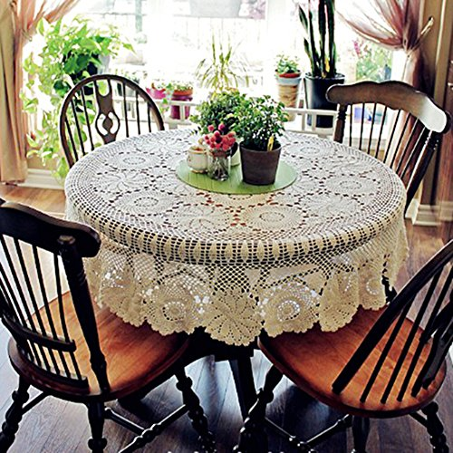55-63 Inch Round HANDMADE Crochet Lace Tablecloth (55 Inch, Beige)