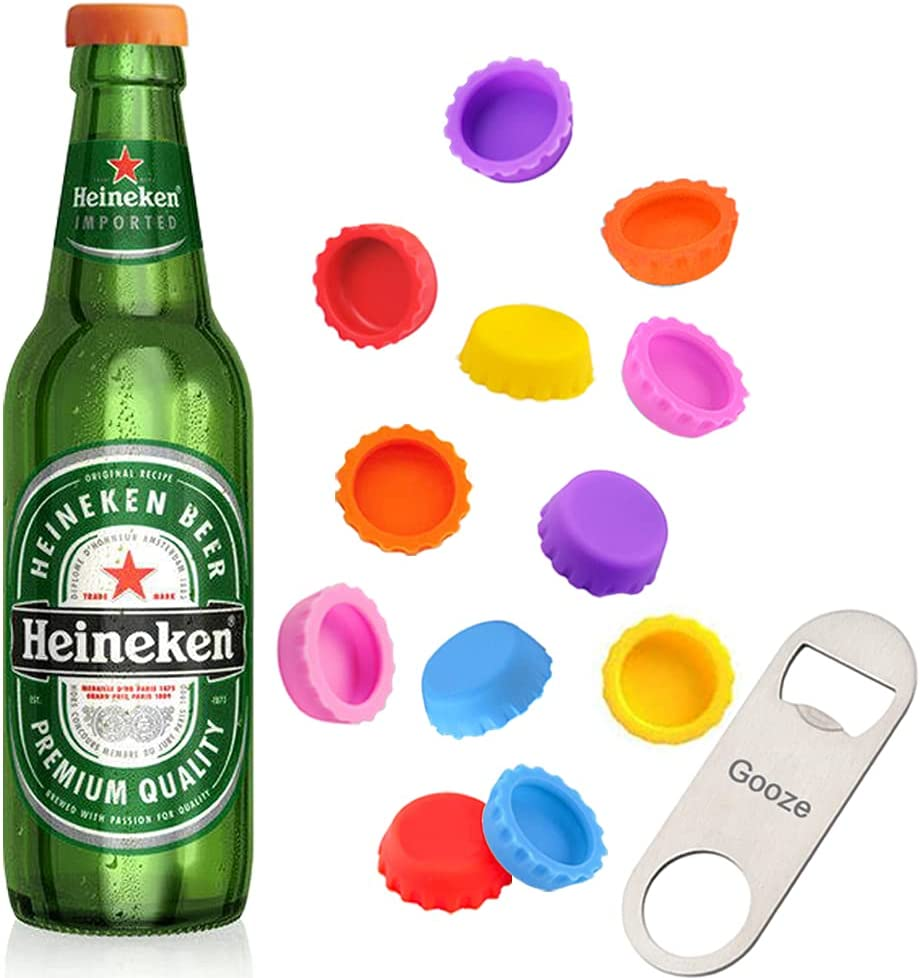 Beer Bottle Caps, Gooze 12 Pack Beer Caps Saver Silicone Rubber Bottle Caps, Soda Bottle Stopper Hat, Reusable Reseal, 6 Colors, Used for Beer, Soda, Soft Drink, Home Brewing, Bottle Mark, With Opener