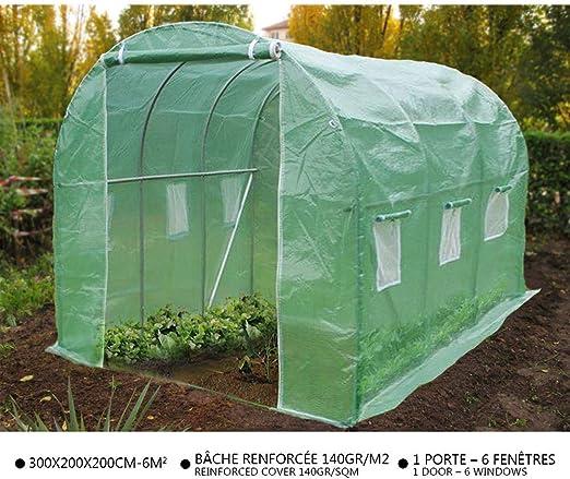 VOUNOT Invernaderos Jardin, Tunel Invernadero Huerto prar Plantas, Ubo de Acero y Plastico, Impermeable, 3 x 2 x 2 m, Verde: Amazon.es: Jardín