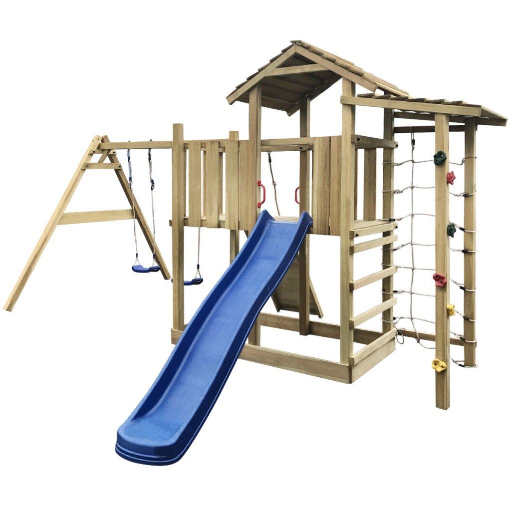 vidaXL Holz Spielturm Spielhaus Kletterturm mit Rutsche Leiter Schaukeln 516x450x270 cm