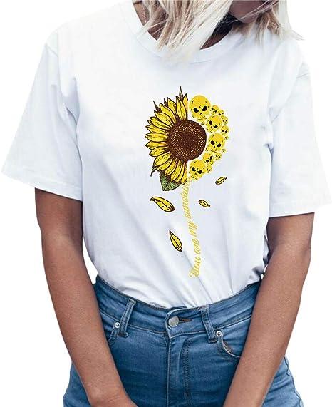 Keepwin ¡Nueva!Estampado de Girasol Top Manga Corta Mujer Fiesta Camisetas Mujer Camisetas Mujer Verano Blusa Mujer Sport Tops Mujer Verano Camisetas Mujer Elegante Tank Tops (Blanco,XXL): Amazon.es: Deportes y aire libre
