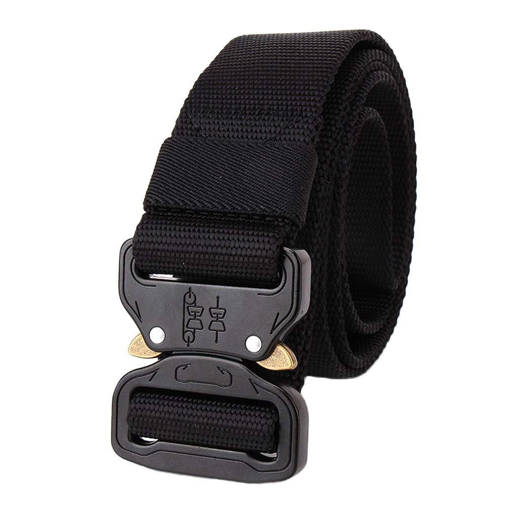 Hattfart Men Tactical Buckle Belt Heavy Duty Metal Buckle Military Webbing Nylon Belt Training Strap (Black)