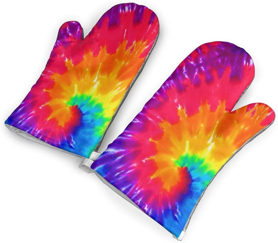 TMVFPYR Oven Mitts,Colorful Tie Dye Non-Slip Silicone Oven Mitts, Extra Long Kitchen Mitts, Heat Resistant to 500Fahrenheit Degrees Kitchen Oven Gloves