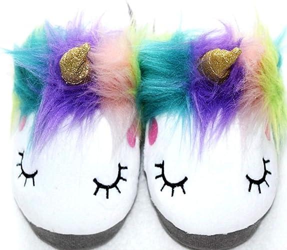 Girl/'s Magic Plush Animal Unicorn Slippers Soft Sole Bottom Adorable Sleepy Anti-Skid Girls Unicorn House Loafers