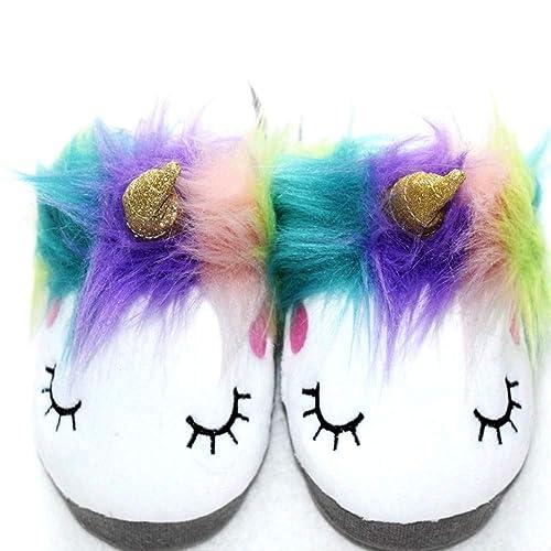 Plush Unicorn Slippers Indoor Bedroom