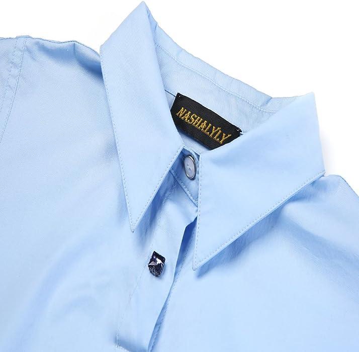 NASHALYLY Camicia a Maniche Corte Camicia Elegante Camicia Estiva Semplice  Donna(Blu 88361c77d2d