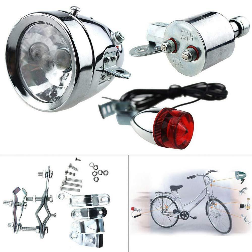 Maso Bicycle Headlight and Rearlight -Friction Generator Dynamo Powered Bike Tail Light Set 12V 6W
