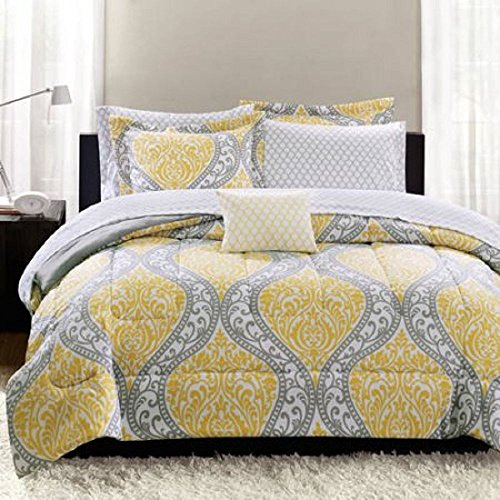 Mainstays Yellow Damask Coordinated Bedding Set Bed in a Bag FULL