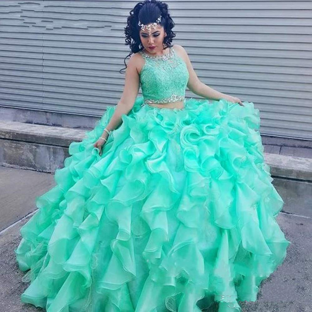 Formaldresses Ball Gown Mint Green Quinceanera Dress 2 Piece Plus Size  Quinceanera Gowns Sweet 16 Dress (6, Mint Green as pic)