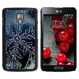 Qstar Arte & diseño plástico duro Fundas Cover Cubre Hard Case Cover para LG Optimus L7 II P710 / L7X P714 ( Snow Crystal Snowflake Winter Ice)