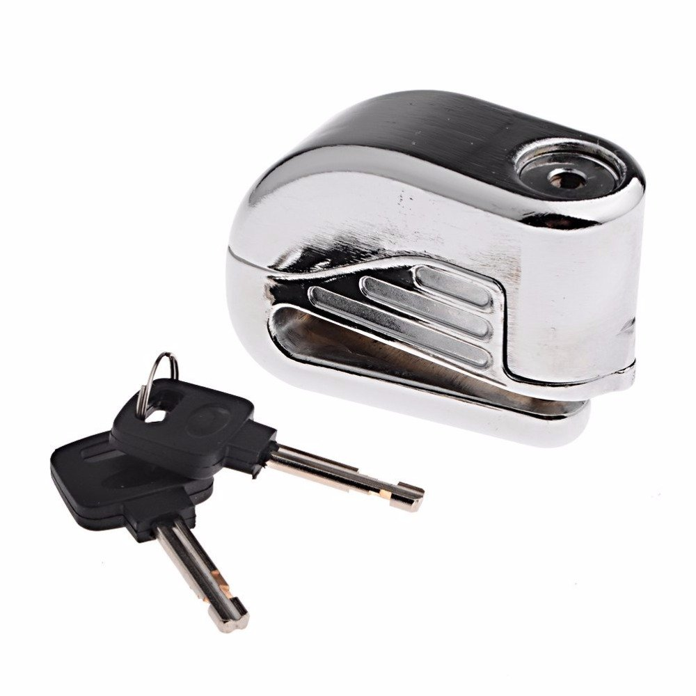 Anti-Thief Sound Security Alarm Electron Disc Brake Lock 6MM Pin for Honda Suzuki Kawasaki Yamaha KTM Cruiser Sport Racing Bike (Silver)