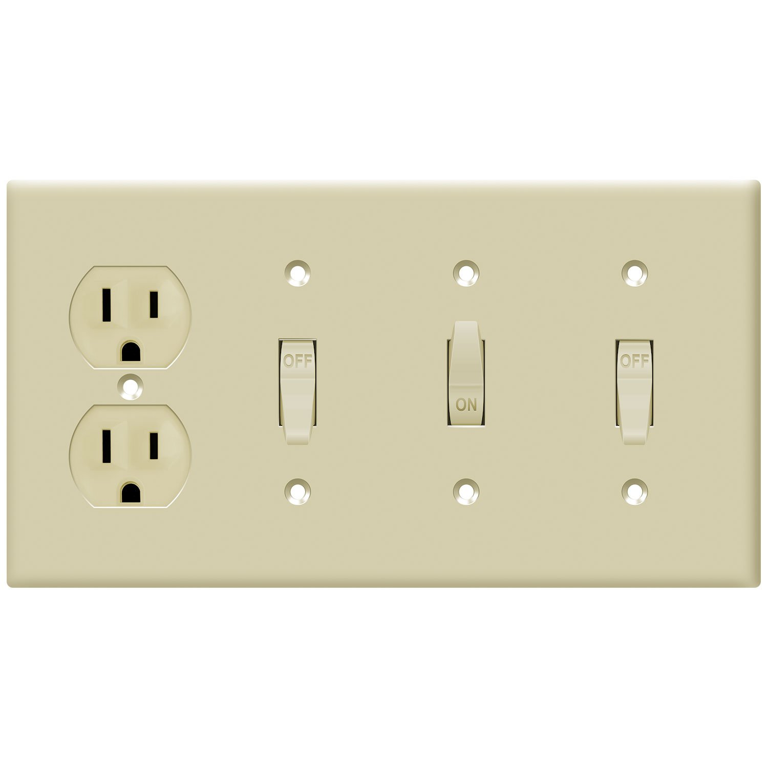 881321-W Polycarbonate Thermoplastic Size 4-Gang 4.50 x 8.19 White Size 4-Gang 4.50 x 8.19 ENERLITES Combination Toggle Light Switch//Duplex Receptacle Outlet Wall Plate