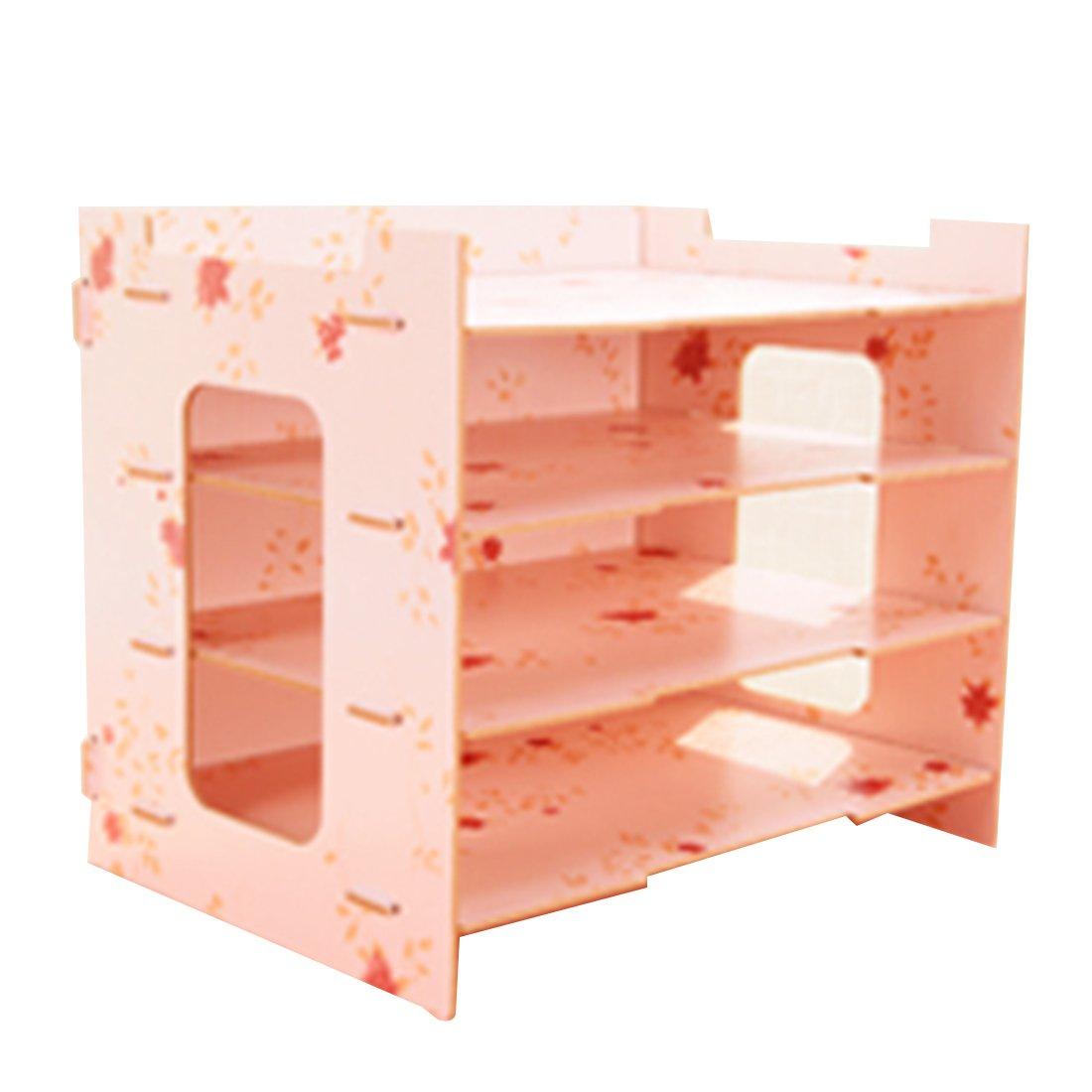 Tosbess Holz Schreibtischorganizer Tisch Organizer Büro Fernbedienung Box Organisation Aufbewahrungsbox Schreibtisch mit 4 variablen Einlegeböden Papierablage für Briefe und Unterlagen