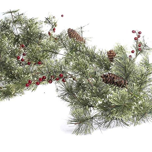 Factory Direct Craft 6 Foot Long Sparkling Winter Snowy Brush Pine Garland with a Mixture of Red Berries and Pinecones