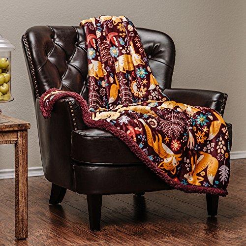 "Chanasya Super Soft Ultra Plush Gold Fox Burgundy Red Bright Vibrant Color Print Sherpa Bed Couch Sofa Microfiber Throw Blanket( 50"" x 65"")- Burgundy Fox Lover"