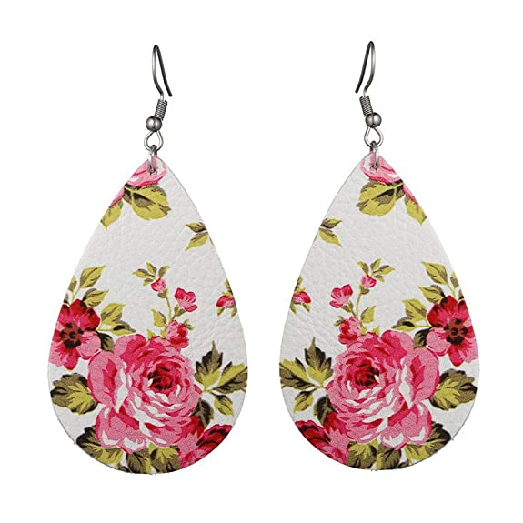 YiHee 8 Pairs Teardrop Leather Earrings Lightweight Petal Drop Earrings Bohemia Earrings Antique Faux Leather Dangle Earrings for Women Girls