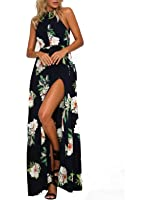 MISSLOOK Women's Bohemian Halter Sleeveless Floral-Print Split Summer Maxi Dress