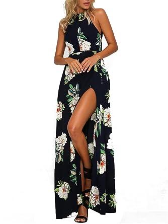 2f104da22c784 MISSLOOK Women's Floral Maxi Dresses Sleeveless Split Halter Backless Beach  Summer Long Dress