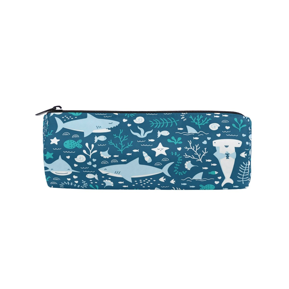 ALAZA Cartoon Blue Sharks with Sealife Animal Pencil Pen Case Pouch Bag with Zipper for Girls Kids School Student Stationery Office Supplies