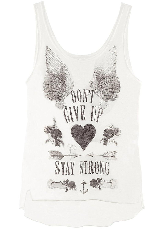 Summerwhisper Women's Wings Pattern Printed Tank Top T-Shirt White
