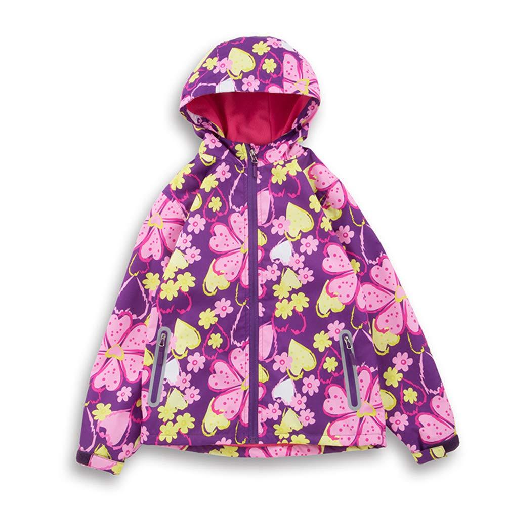 Little Girls Rain Jacket Coats with Hood Outdoor Outwear (8, Purple Heart)