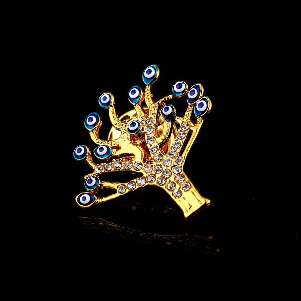 U7 Lucky Evil Eye Tree of Life Brooch 18K Gold Plated Tie Hat Bag Brooches Lapel Pin Women Men by U7 (Image #8)