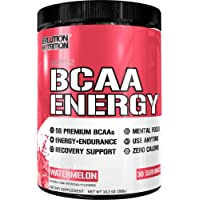 Evlution Nutrition BCAA Energy - High Performance Energizing Amino Acid Supplement For Muscle Building Recovery And Endurance 30 Servings Watermelon