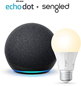 All-new Echo Dot (4th Gen) - Charcoal - bundle with Sengled Bluetooth bulb