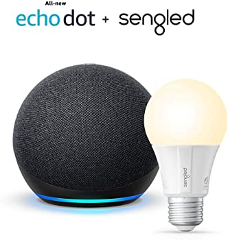 Amazon All-new Echo Dot (4th Gen) Smart Speaker + Sengled Smart Light Bulb