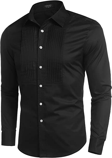 X-Future Mens Gentlemen Print Button Down Regular Fit Lapel Long Sleeve Shirt