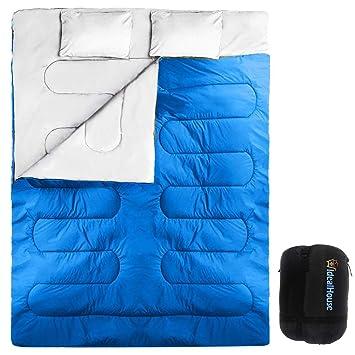Saco de Dormir de 2 Personas 210*152cm Doble Saco de Dormir con 2 Cojines