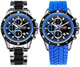 Image of Jiusko Men's 65LSB08 Speedmaster Series Multifuntion Quartz Tachometer Chronograph Sports Black / Blue Watch