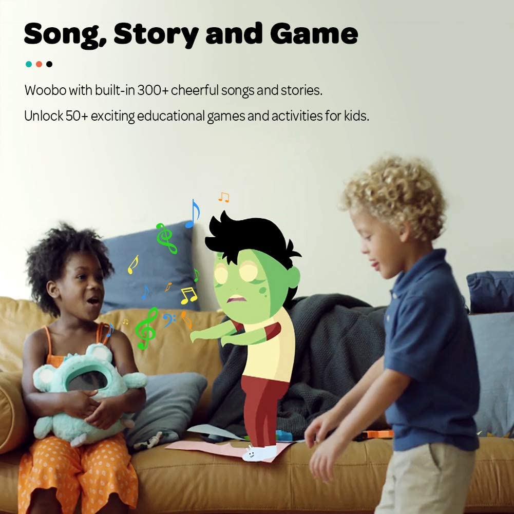 Stuffed Talking Toys with Songs WOOBO Plush Interactive Robot Toy for Curious Kids Stories Best Gift for Boys Girls App and Touch Control Alarm Clock Games Voice Interaction