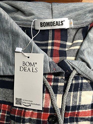 BomDeals Women's Classic Plaid Cotton Hoodie Button-up Flannel Shirts