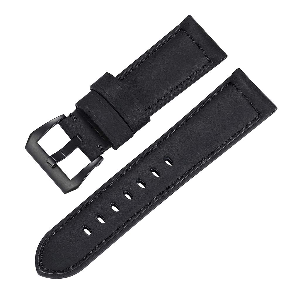 iStrap 22mm 24mm 26mm Watch Band Vintage Calf Leather Strap Brushed Silver Black Steel Buckle for Panerai Radiomir Luminor