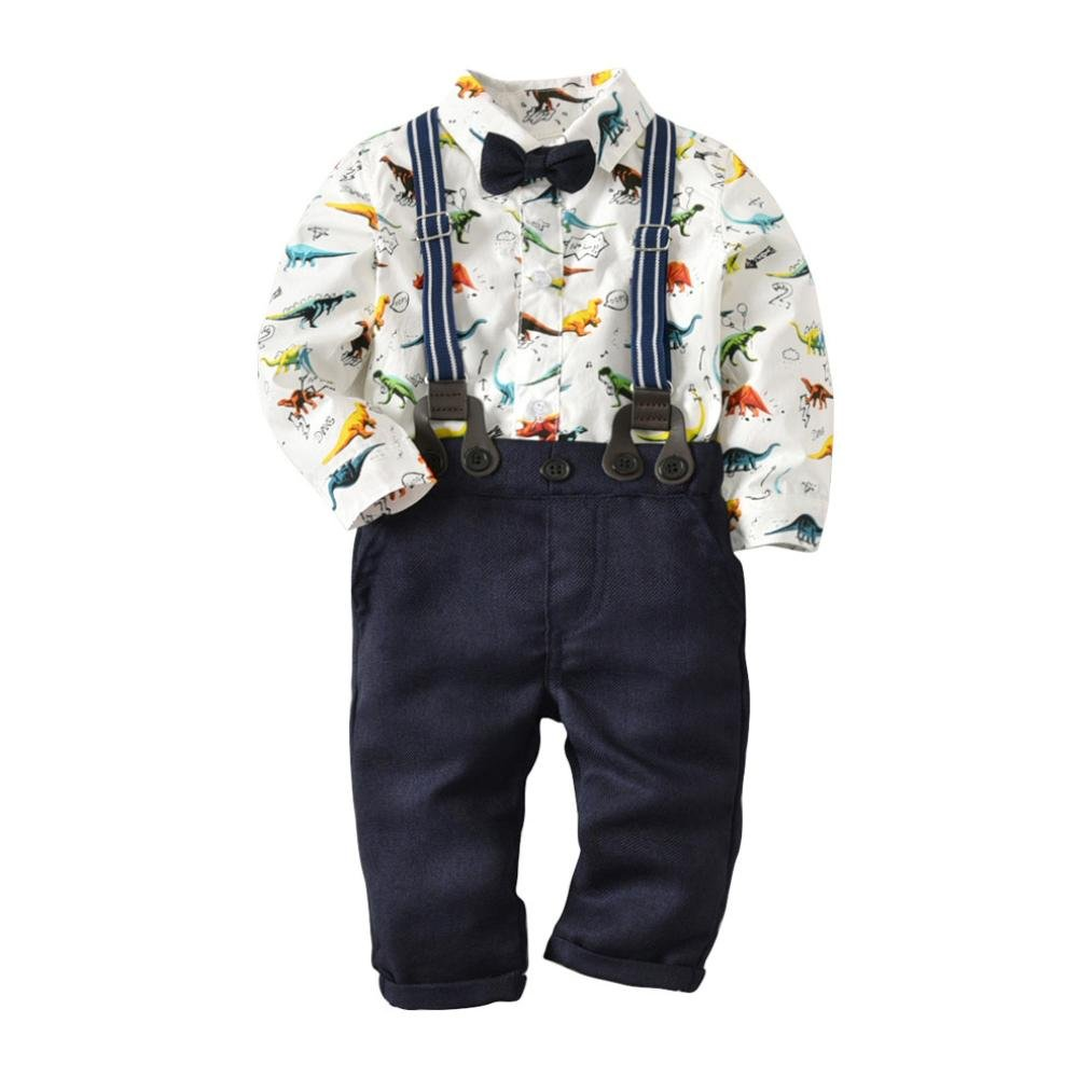 Little Boy Gentleman Fall Sets,Jchen(TM) Hot Sales! Toddler Baby Boys Dinosaur Gentleman Bowtie Shirt Romper+Suspenders Pants Outfits for 0-3 Years Old (Age: 0-6 Months)