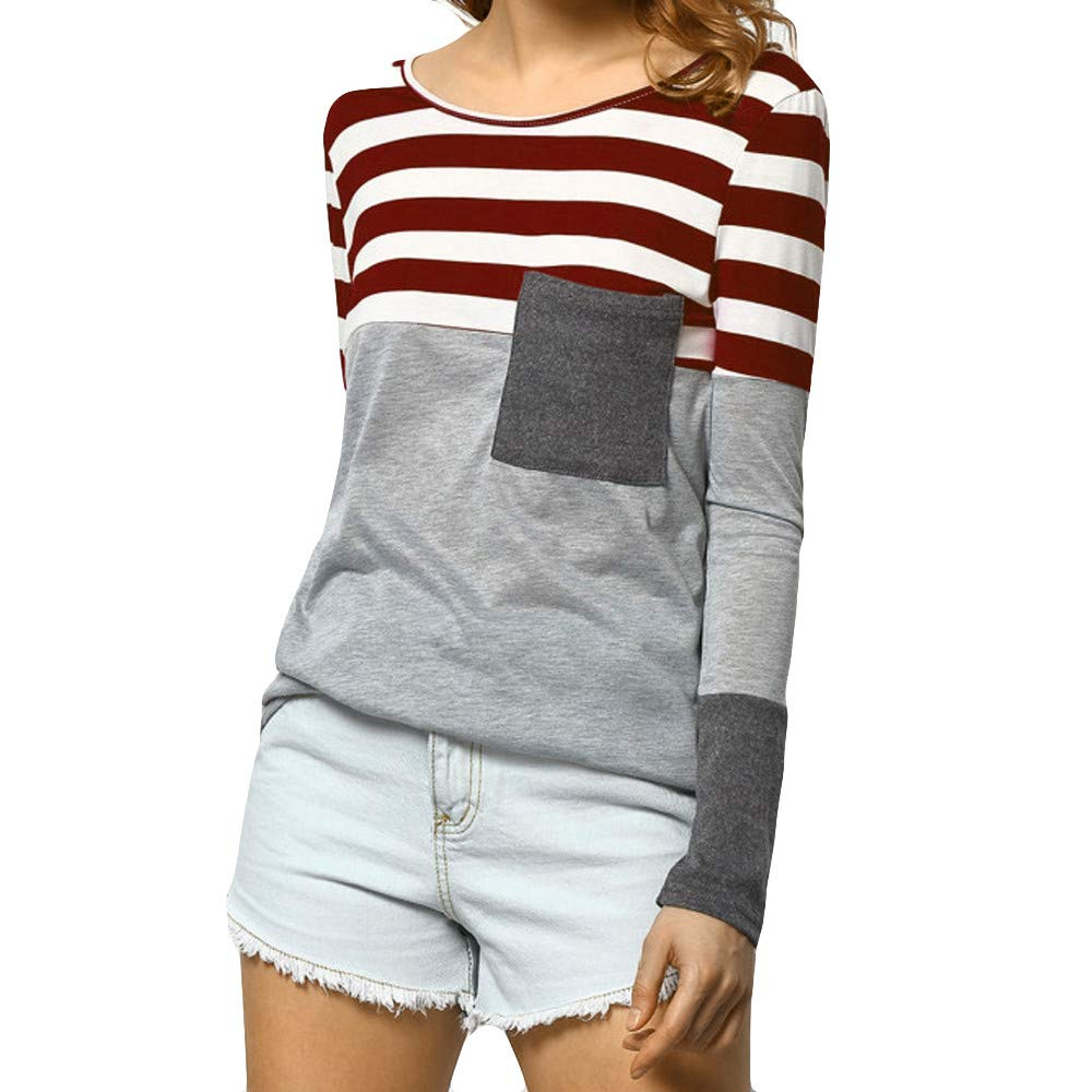 Kumike Autumn Women Long Sleeve Striped Pocket T Shirt O Neck Patchwork Loose Blouse Tops